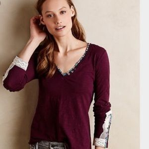 Anthropologie Lata Long Sleeve lace detail top